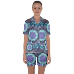 Folk Art Lotus Mandala Blue Turquoise Satin Short Sleeve Pyjamas Set by EDDArt
