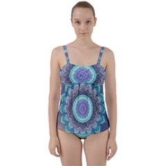 Folk Art Lotus Mandala Blue Turquoise Twist Front Tankini Set by EDDArt