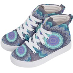 Folk Art Lotus Mandala Blue Turquoise Kid s Hi Top Skate Sneakers by EDDArt