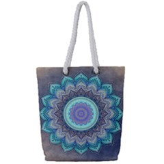 Folk Art Lotus Mandala Blue Turquoise Full Print Rope Handle Tote (small) by EDDArt
