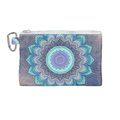 Folk Art Lotus Mandala Blue Turquoise Canvas Cosmetic Bag (medium) by EDDArt