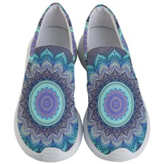 Folk Art Lotus Mandala Blue Turquoise Women s Lightweight Slip Ons by EDDArt