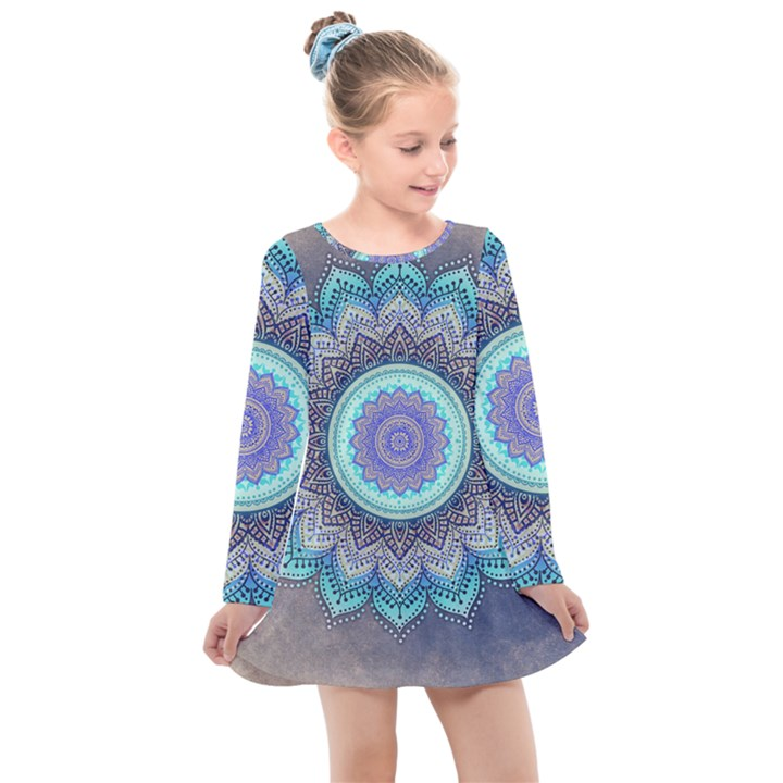 Folk Art Lotus Mandala Blue Turquoise Kids  Long Sleeve Dress
