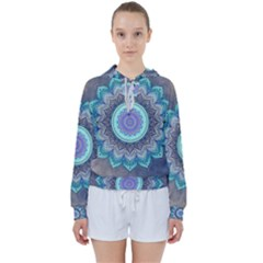 Folk Art Lotus Mandala Blue Turquoise Women s Tie Up Sweat