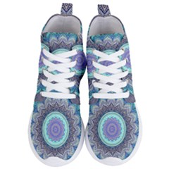 Folk Art Lotus Mandala Blue Turquoise Women s Lightweight High Top Sneakers by EDDArt