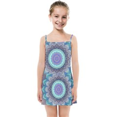 Folk Art Lotus Mandala Blue Turquoise Kids Summer Sun Dress by EDDArt