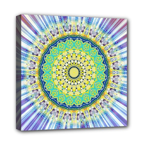 Power Mandala Sun Blue Green Yellow Lilac Mini Canvas 8  X 8  by EDDArt