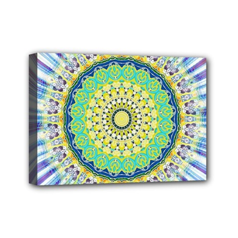 Power Mandala Sun Blue Green Yellow Lilac Mini Canvas 7  X 5  by EDDArt
