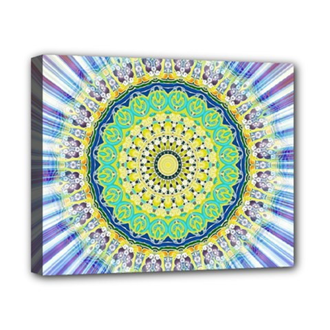 Power Mandala Sun Blue Green Yellow Lilac Canvas 10  X 8  by EDDArt