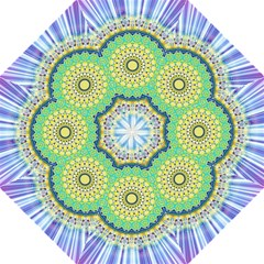 Power Mandala Sun Blue Green Yellow Lilac Folding Umbrellas by EDDArt