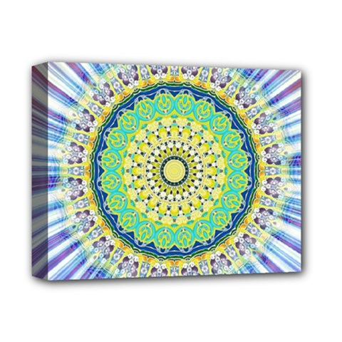 Power Mandala Sun Blue Green Yellow Lilac Deluxe Canvas 14  X 11  by EDDArt
