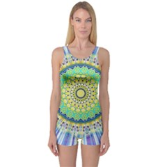 Power Mandala Sun Blue Green Yellow Lilac One Piece Boyleg Swimsuit by EDDArt