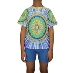 Power Mandala Sun Blue Green Yellow Lilac Kids  Short Sleeve Swimwear by EDDArt