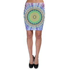 Power Mandala Sun Blue Green Yellow Lilac Bodycon Skirt by EDDArt