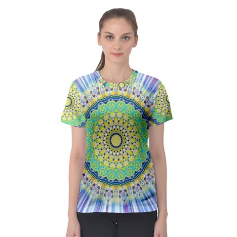 Power Mandala Sun Blue Green Yellow Lilac Women s Sport Mesh Tee by EDDArt