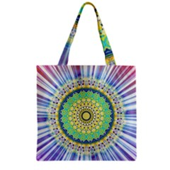 Power Mandala Sun Blue Green Yellow Lilac Grocery Tote Bag by EDDArt