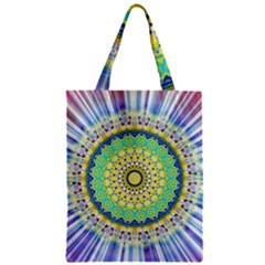 Power Mandala Sun Blue Green Yellow Lilac Classic Tote Bag by EDDArt