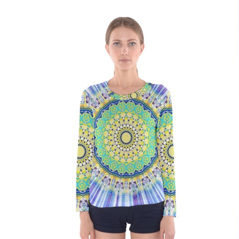 Power Mandala Sun Blue Green Yellow Lilac Women s Long Sleeve Tee by EDDArt