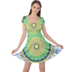 Power Mandala Sun Blue Green Yellow Lilac Cap Sleeve Dress by EDDArt