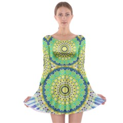 Power Mandala Sun Blue Green Yellow Lilac Long Sleeve Skater Dress by EDDArt