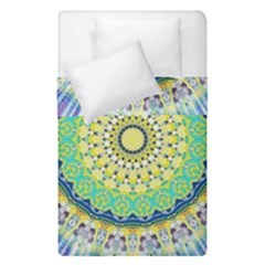 Power Mandala Sun Blue Green Yellow Lilac Duvet Cover Double Side (single Size) by EDDArt