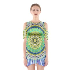 Power Mandala Sun Blue Green Yellow Lilac Shoulder Cutout One Piece by EDDArt