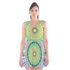 Power Mandala Sun Blue Green Yellow Lilac Scoop Neck Skater Dress by EDDArt