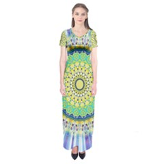 Power Mandala Sun Blue Green Yellow Lilac Short Sleeve Maxi Dress by EDDArt