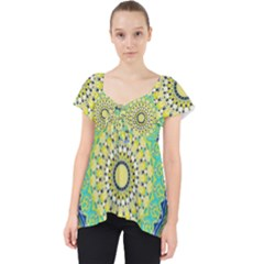 Power Mandala Sun Blue Green Yellow Lilac Lace Front Dolly Top by EDDArt