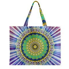 Power Mandala Sun Blue Green Yellow Lilac Medium Tote Bag by EDDArt
