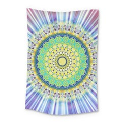 Power Mandala Sun Blue Green Yellow Lilac Small Tapestry by EDDArt