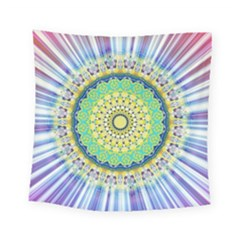 Power Mandala Sun Blue Green Yellow Lilac Square Tapestry (small) by EDDArt