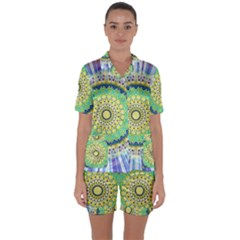 Power Mandala Sun Blue Green Yellow Lilac Satin Short Sleeve Pyjamas Set by EDDArt