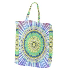 Power Mandala Sun Blue Green Yellow Lilac Giant Grocery Tote by EDDArt