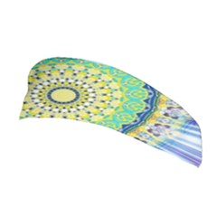 Power Mandala Sun Blue Green Yellow Lilac Stretchable Headband by EDDArt