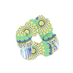 Power Mandala Sun Blue Green Yellow Lilac Velvet Scrunchie by EDDArt