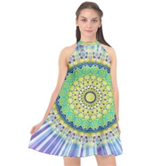 Power Mandala Sun Blue Green Yellow Lilac Halter Neckline Chiffon Dress  by EDDArt