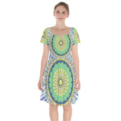 Power Mandala Sun Blue Green Yellow Lilac Short Sleeve Bardot Dress by EDDArt