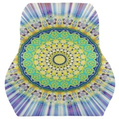 Power Mandala Sun Blue Green Yellow Lilac Car Seat Back Cushion  by EDDArt