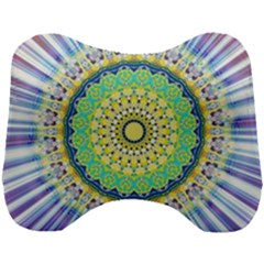 Power Mandala Sun Blue Green Yellow Lilac Head Support Cushion by EDDArt