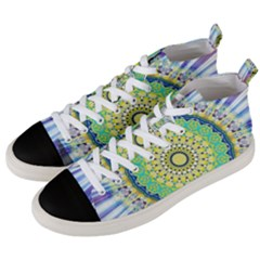 Power Mandala Sun Blue Green Yellow Lilac Men s Mid Top Canvas Sneakers by EDDArt