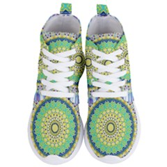 Power Mandala Sun Blue Green Yellow Lilac Women s Lightweight High Top Sneakers
