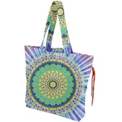 Power Mandala Sun Blue Green Yellow Lilac Drawstring Tote Bag by EDDArt