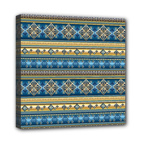 Vintage Border Wallpaper Pattern Blue Gold Mini Canvas 8  X 8  by EDDArt