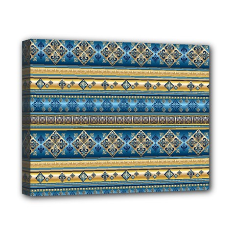 Vintage Border Wallpaper Pattern Blue Gold Canvas 10  X 8  by EDDArt