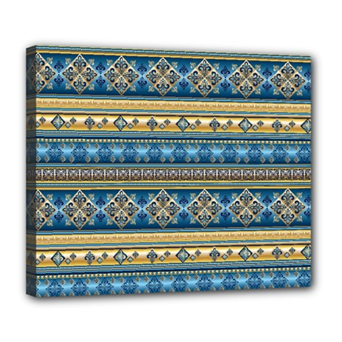 Vintage Border Wallpaper Pattern Blue Gold Deluxe Canvas 24  X 20   by EDDArt