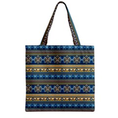 Vintage Border Wallpaper Pattern Blue Gold Grocery Tote Bag by EDDArt