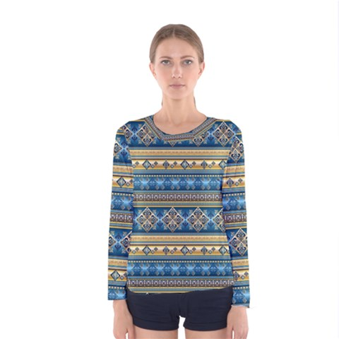 Vintage Border Wallpaper Pattern Blue Gold Women s Long Sleeve Tee by EDDArt