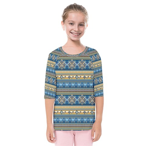 Vintage Border Wallpaper Pattern Blue Gold Kids  Quarter Sleeve Raglan Tee by EDDArt