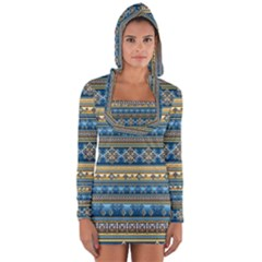 Vintage Border Wallpaper Pattern Blue Gold Long Sleeve Hooded T-shirt by EDDArt